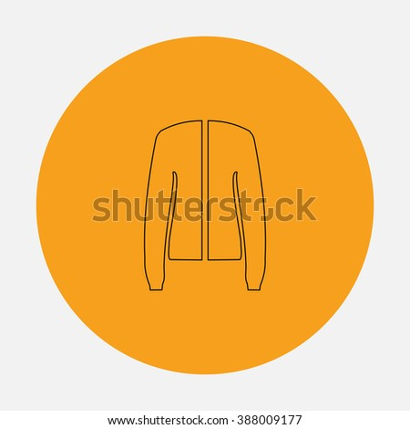 Jacket. Simple flat icon on orange circle - stock photo
