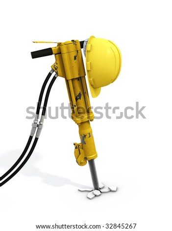 Jackhammer isolated. Clipping paths - stock photo