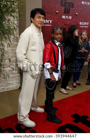 """Jackie Chan and Jaden Smith at the Los Angeles Premiere of """"The Karate Kid"""" held at the Mann Village Theater in Westwood, California, United States on June 7, 2010.   - stock photo"""