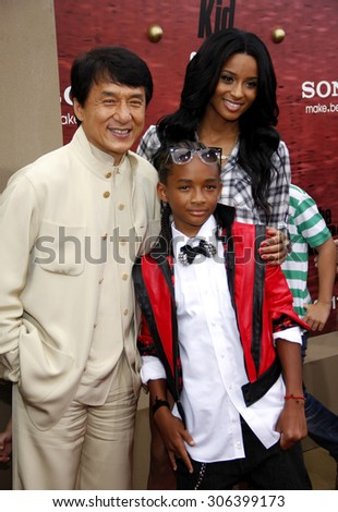 Jackie Chan, Jaden Smith and Ciara at the Los Angeles premiere of 'The Karate Kid' held at the Mann Village Theater in Westwood, USA on June 7, 2010. - stock photo