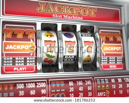 Jackpot on slot machine. Three-dimensional image. 3d - stock photo