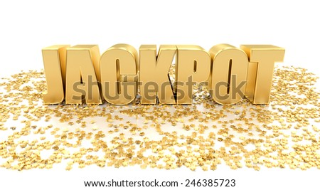 Jackpot with stars on white background - High quality 3D Render - stock photo
