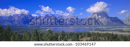 Jackson Lake and Grand Tetons, Grand Teton National Park, Wyoming - stock photo