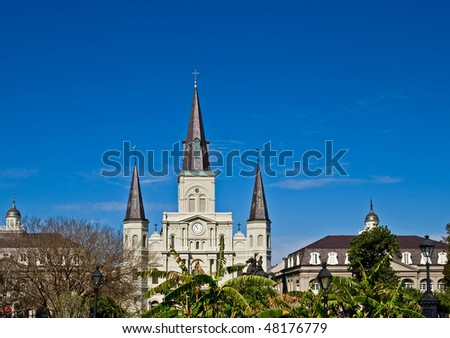 Jackson Square in New Orleans, with St. Louis Cathedral in background - stock photo