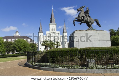 Jackson Square park with St. Peters Cathedral in the background in New Orleans - stock photo