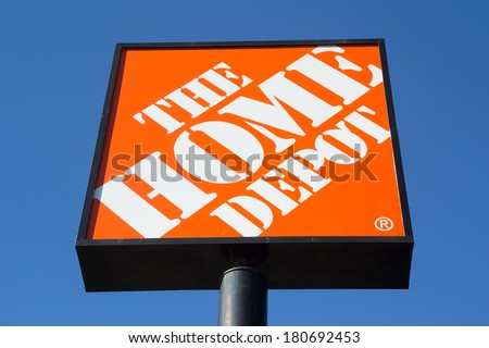 JACKSONVILLE, FL-MARCH 8, 2014: A Home Depot sign in Jacksonville. The Home Depot is the largest home improvement retailer in the United States, ahead of rival Lowe's. - stock photo