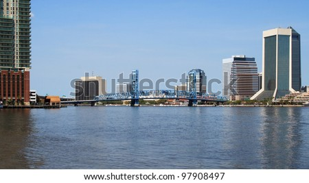 Jacksonville florida skyline and the St Johns River downtown - stock photo