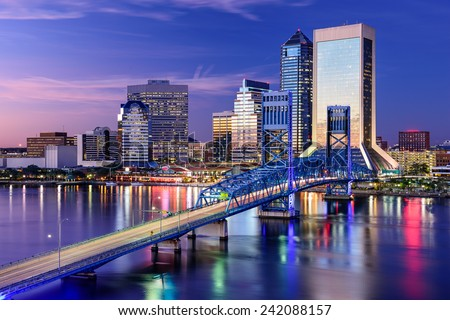Jacksonville, Florida, USA city skyline on St. Johns River. - stock photo