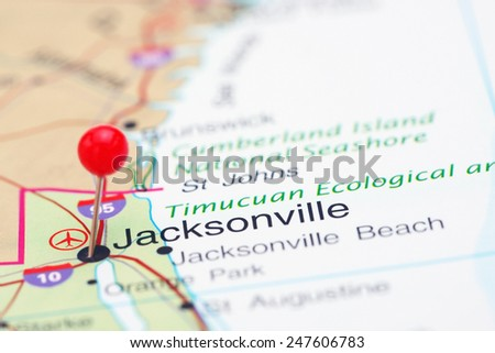 Jacksonville pinned on a map of USA  - stock photo