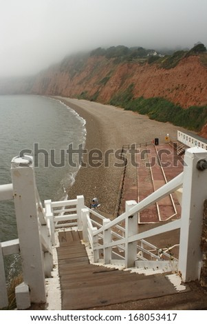 Jacob's ladder in Sidmouth - stock photo