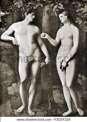 "Jacopo d'Antonio Negretti (1480 - 1528) ""Adam and Eva"". Reproduction from illustrated Encyclopedia ""Treasures of art"", Partnership «Prosvesheniye», St. Petersburg , Russia , 1906 - stock photo"