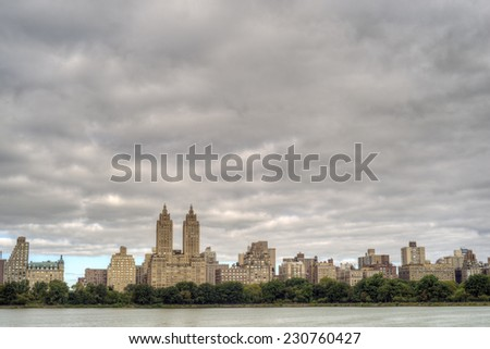 Jacqueline Kennedy Onassis Reservoir  originally and sometimes still known as the Central Park Reservoir Manhattan, New York City. - stock photo
