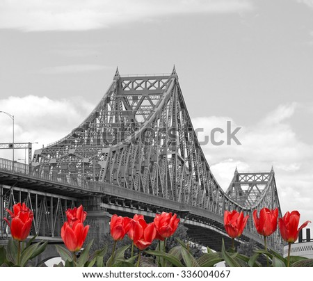 Jacques-Cartier Bridge in Montreal, Canada - stock photo
