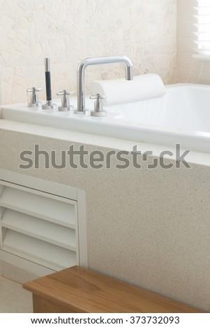 jacuzzi bathtub in luxury villa. - stock photo