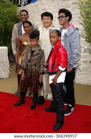 Jada Pinkett Smith, Will Smith, Jaden Smith, Jackie Chan, Trey Smith and Willow Smith at the Los Angeles premiere of 'The Karate Kid' held at the Mann Village Theater in Westwood, USA on June 7, 2010. - stock photo