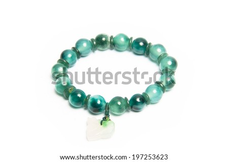 jade bracelet isolated on a white background - stock photo