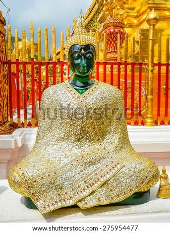 Jade Buddha Clad  in Gilded Robe - Chiang Mai, Thailand - stock photo