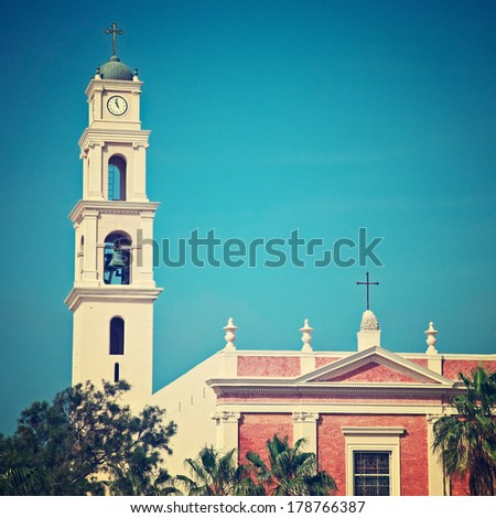 Jaffa is an ancient port city believed to be one of the oldest in the world. Jaffa has been incorporated with Tel Aviv creating the city of Tel Aviv-Yafo, Israel. Vintage style. - stock photo