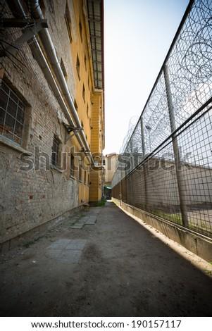 jail building, corridor - stock photo