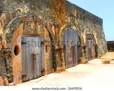 Jail Cells of El Morro Fort, Puerto Rico - stock photo