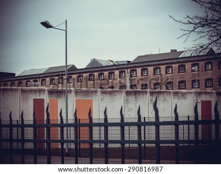jail.  Large prison.  Prison wall - stock photo