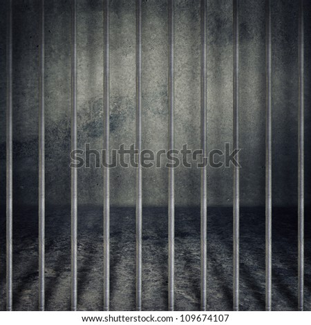 Jail or prison cell. Obsolete gray grunge concrete room. - stock photo
