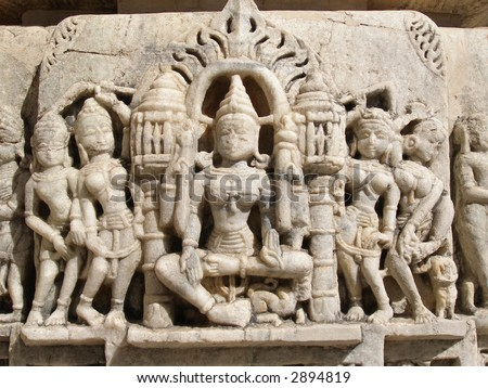 Jain Temple in Ranakpur,India - stock photo