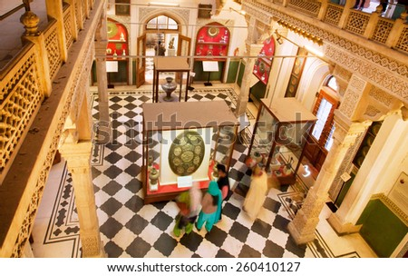 JAIPUR, INDIA - JAN 22: Interior of the rooms inside the Albert Hall Museum on January 22, 2015. Also known as the Government Central Museum, this is the oldest museums of Jaipur (built in 1876) - stock photo