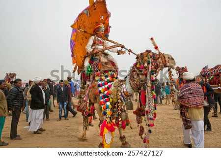 JAISALMER, INDIA - MAR 2: Colorful camel and rider with umbrella walking through the crowd of Desert Festival  on March 2, 2015. Every year in the february Jaisalmer takes the famous Desert Festival - stock photo