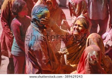JAISALMER, INDIA, MARCH 08:  Indian community celebrates Holi, festival of colors. - stock photo