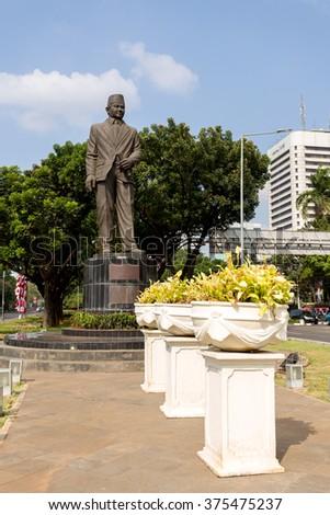 JAKARTA - August 10: The Statue of Mohammad Husni Thamrin (or populary known as MH Thamrin), located on Medan Merdeka Selatan, Jakarta Pusat/Central Jakarta. August 10, 2015 in Jakarta, Indonesia. - stock photo
