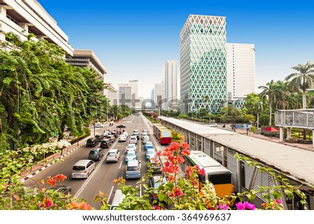 Jakarta city center aerial view in Indonesia - stock photo
