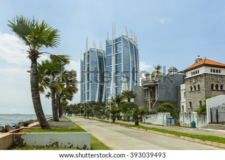 Jakarta city with modern blue buildings and luxury houses. INDONESIA - stock photo