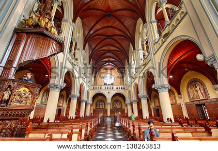 JAKARTA - MAY 8: Roman Catholic Cathedral on May 8, 2013 in Jakarta, Indonesia. Built in 1901 this neo-gothic cathedral is the seat of the Roman Catholic Archbishop of Jakarta. - stock photo