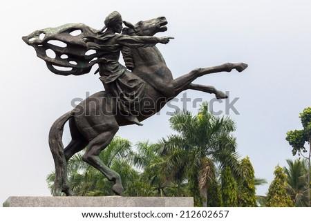 JAKARTA - OCTOBER 6: Statue of Prince Diponegoro riding a horse made by Italian artist, Prof. Coberlato. October 6, 2010 in Jakarta, Indonesia - stock photo