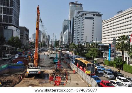 Jalan Sudirman in the business district, 2014 December 12 - stock photo