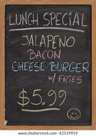 jalapeno, bacon, cheese burger, fries - lunch special menu - vertical blackboard sign with color chalk handwriting - stock photo