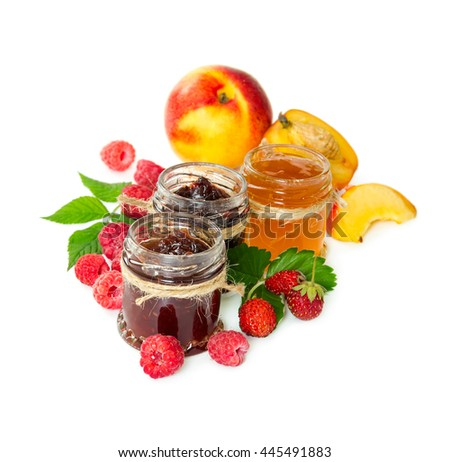 Jam in glass jars and berries isolated on white background. - stock photo