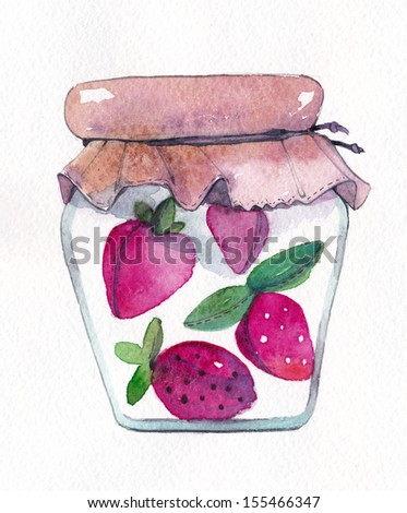 Jam jar with fabric strawberries and hearts - stock photo