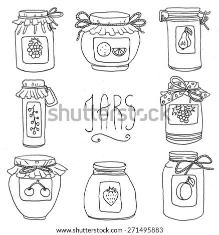 Jars Drawing Jam Jars Illustration Stock