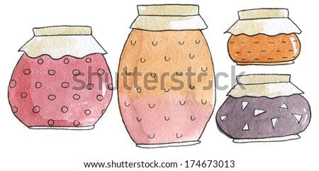 Jam Jars Watercolor Set - stock photo