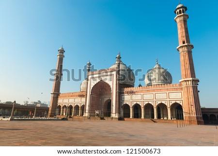 Jama Masjid Mosque, Old Dehli, India under blue sky - stock photo