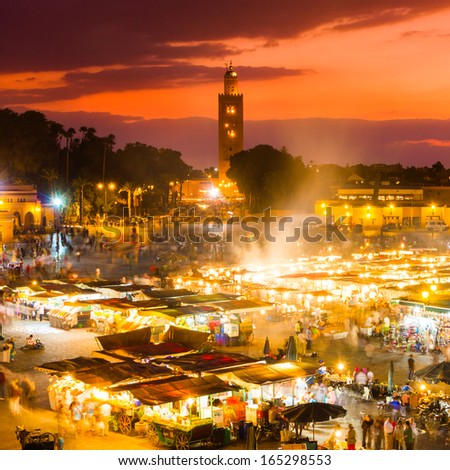 Jamaa el Fna, Jemaa el Fnaa, Djema el Fna or Djemaa el Fnaa is a square and market place in Marrakesh medina quarter. Morocco, Africa. UNESCO Masterpiece of Oral and Intangible Heritage of Humanity. - stock photo