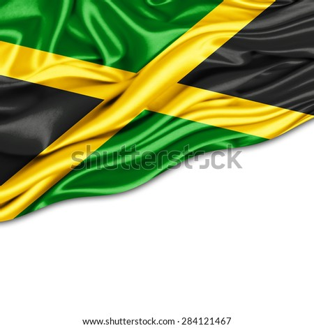 Jamaica  flag of silk and white background - stock photo