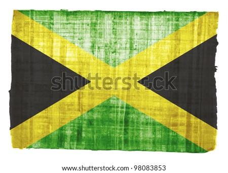 Jamaica flag on original papyrus background - stock photo