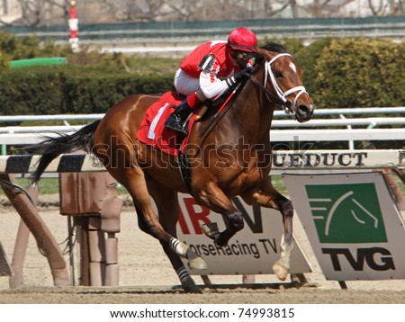 "JAMAICA, NY - APR 9: ""Iron Lou"", under jockey John Velazquez, breaks his maiden at Aqueduct Race Track on Apr 9, 2011 in Jamaica, NY. - stock photo"