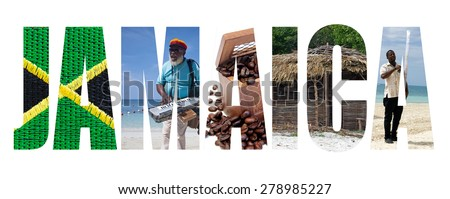 Jamaica written with letters made with representative images of the country - stock photo