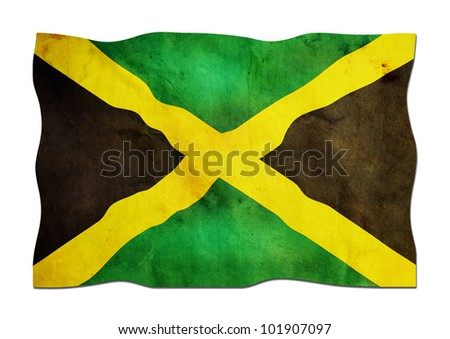 Jamaican Flag made of Paper - stock photo
