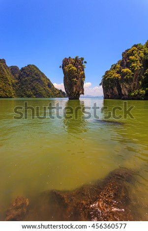 James Bond's island in the form of a vase. Freakish islands in the Andaman Sea. Fine rest in Thailand - stock photo