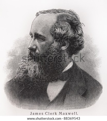 James Clerk Maxwell - Picture from Meyers Lexicon books written in German language. Collection of 21 volumes published between 1905 and 1909. - stock photo